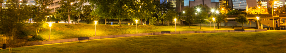 nightlit sidewalk houston